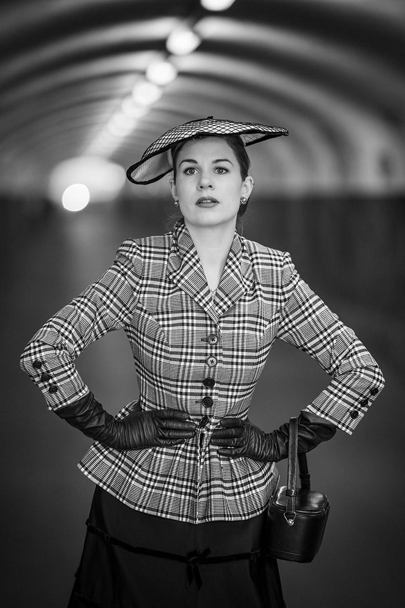 RetroCat wearing a retro blazer by Lena Hoschek