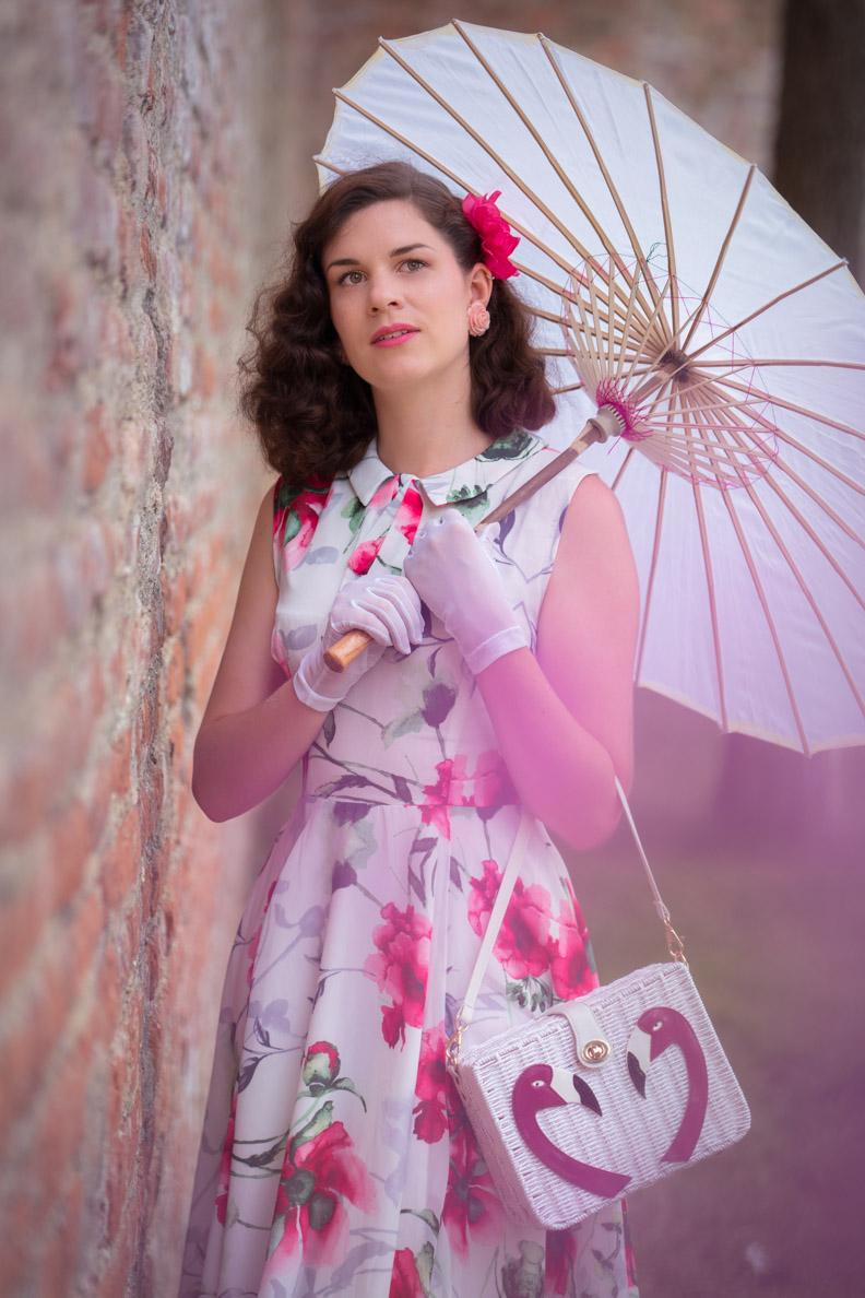 RetroCat wearing a light flower dress by Unique Vintage