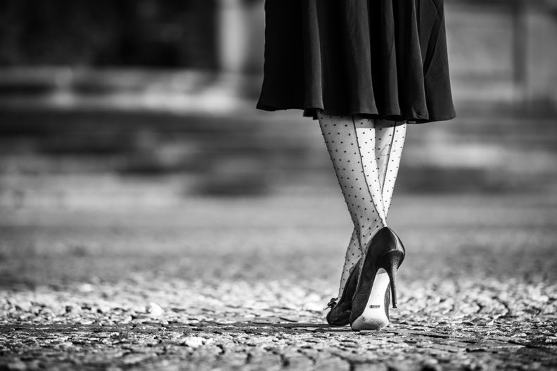 Patterned tights: RetroCat wearing stockings with dots