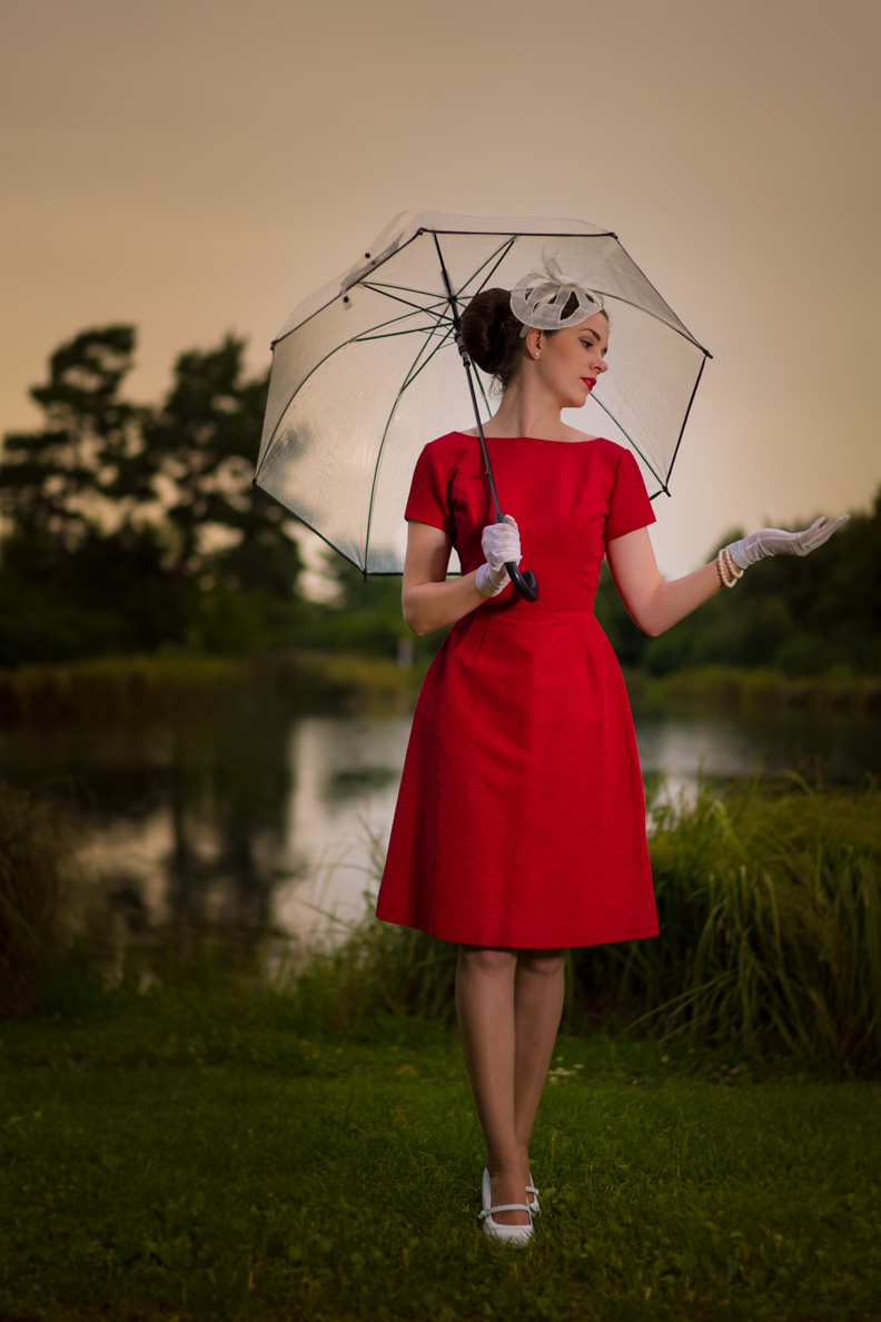 RetroCat wearing a vintage dress and a clear umbrella with cat print