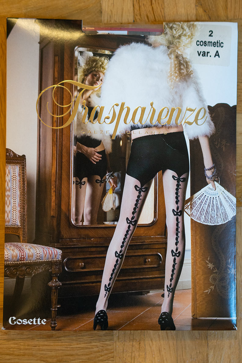The packaging of the Trasparenze Cosette tights bought at Ars-Vivendi