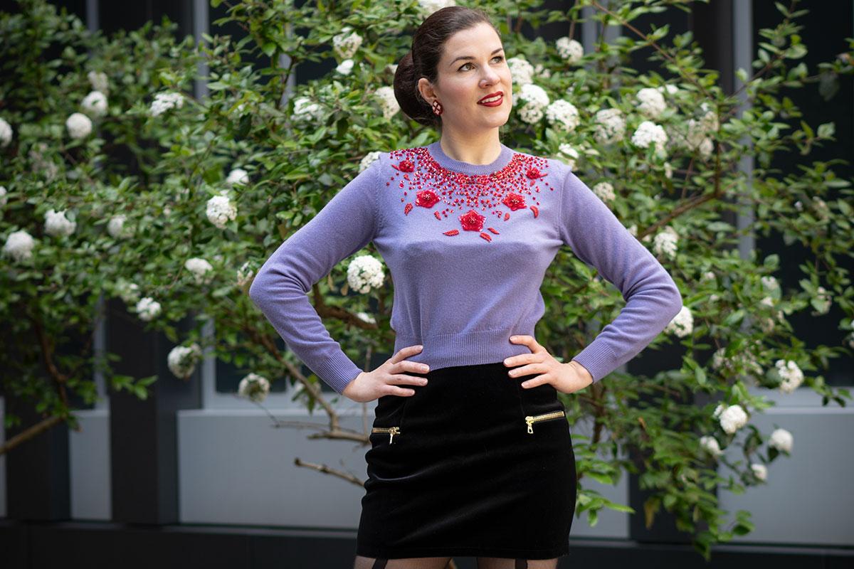 Outfit: A lilac Miu Miu Sweater and a Mini Skirt