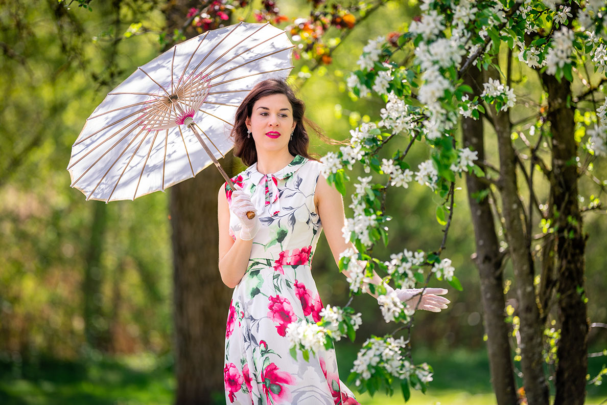 RetroCat wearing a flower dress and parasol during spring in Munich