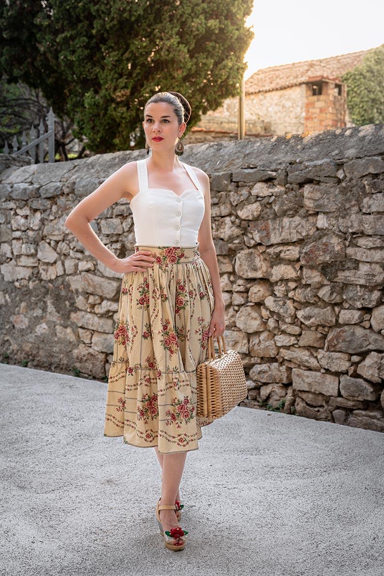 RetroCat wearing a midi skirt with flower pattern by Lena Hoschek in Croatia