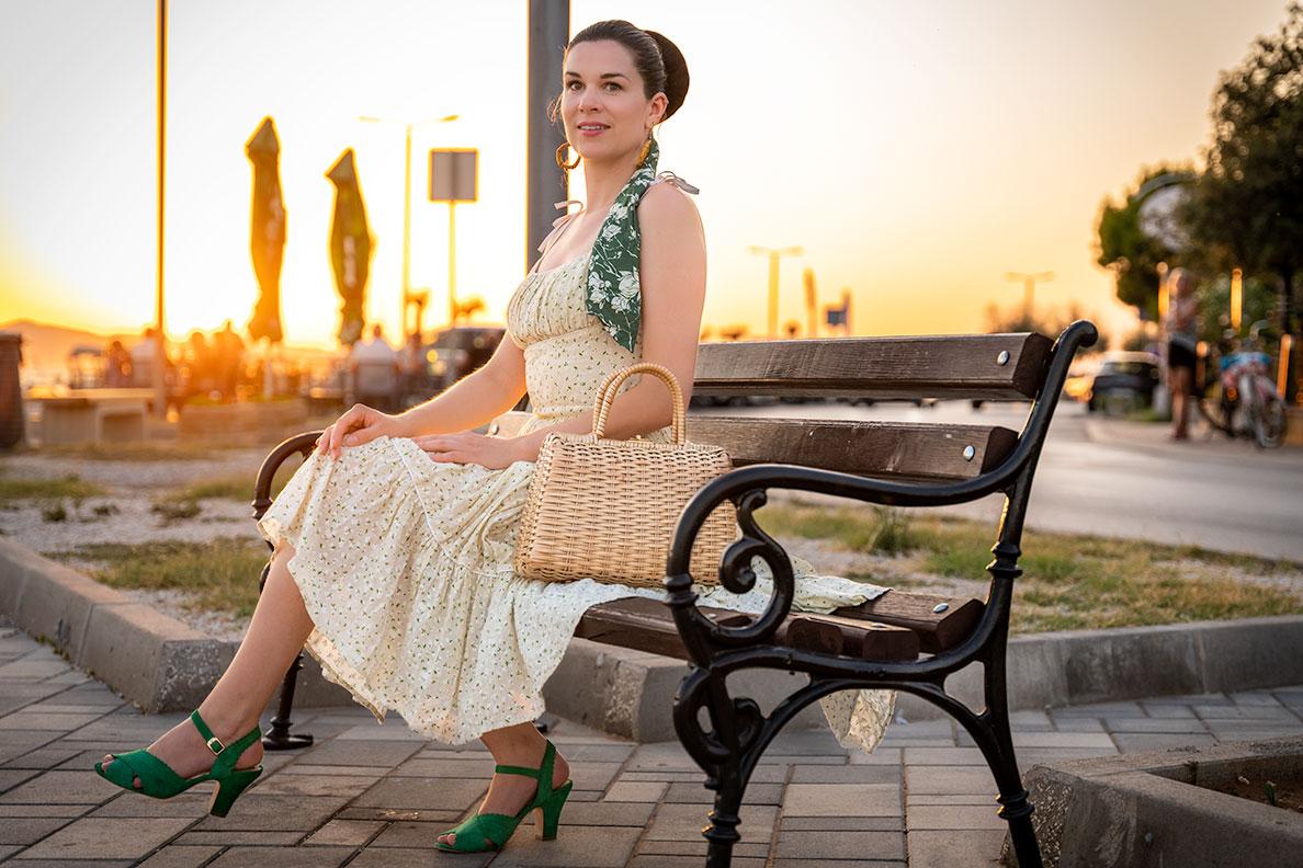 RetroCat enjoying the sunset in Croatia wearing a summer dress by Ginger Jackie