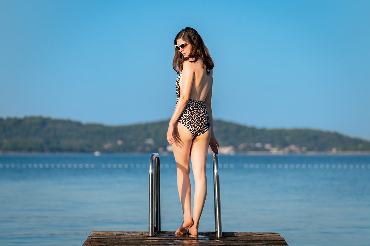 Wild and beautiful: A Leopard Swimsuit with a deep Neckline